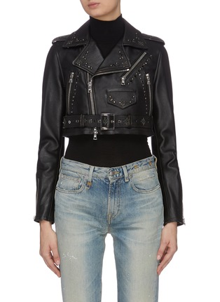 Main View - Click To Enlarge - AMIRI - Studded cropped biker jacket