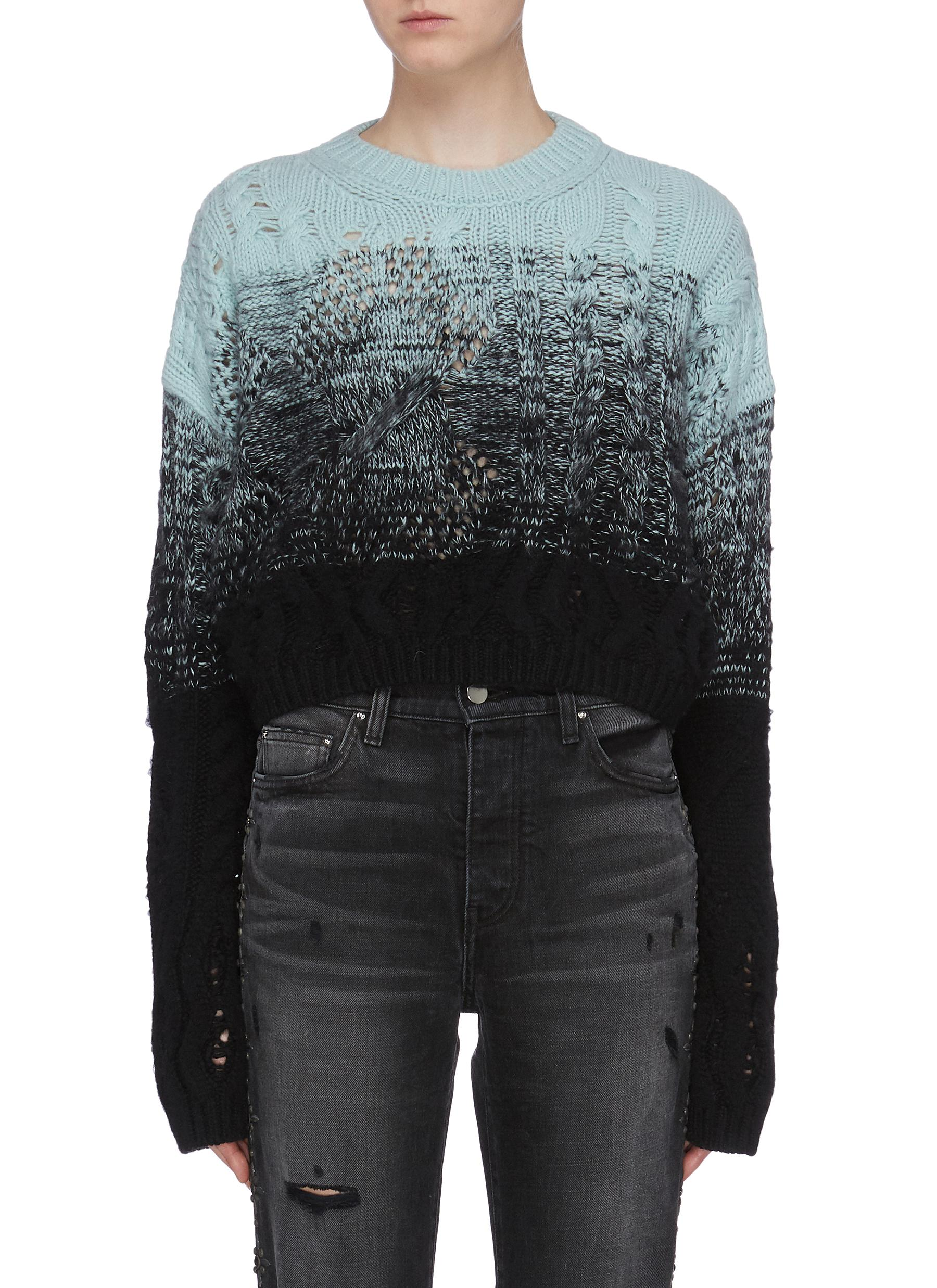 Ombre oversized cropped cable knit sweater by Amiri