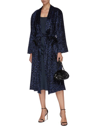 Figure View - Click To Enlarge - BLAZÉ MILANO - 'Luxette Whistler' belted tinsel devoré robe coat
