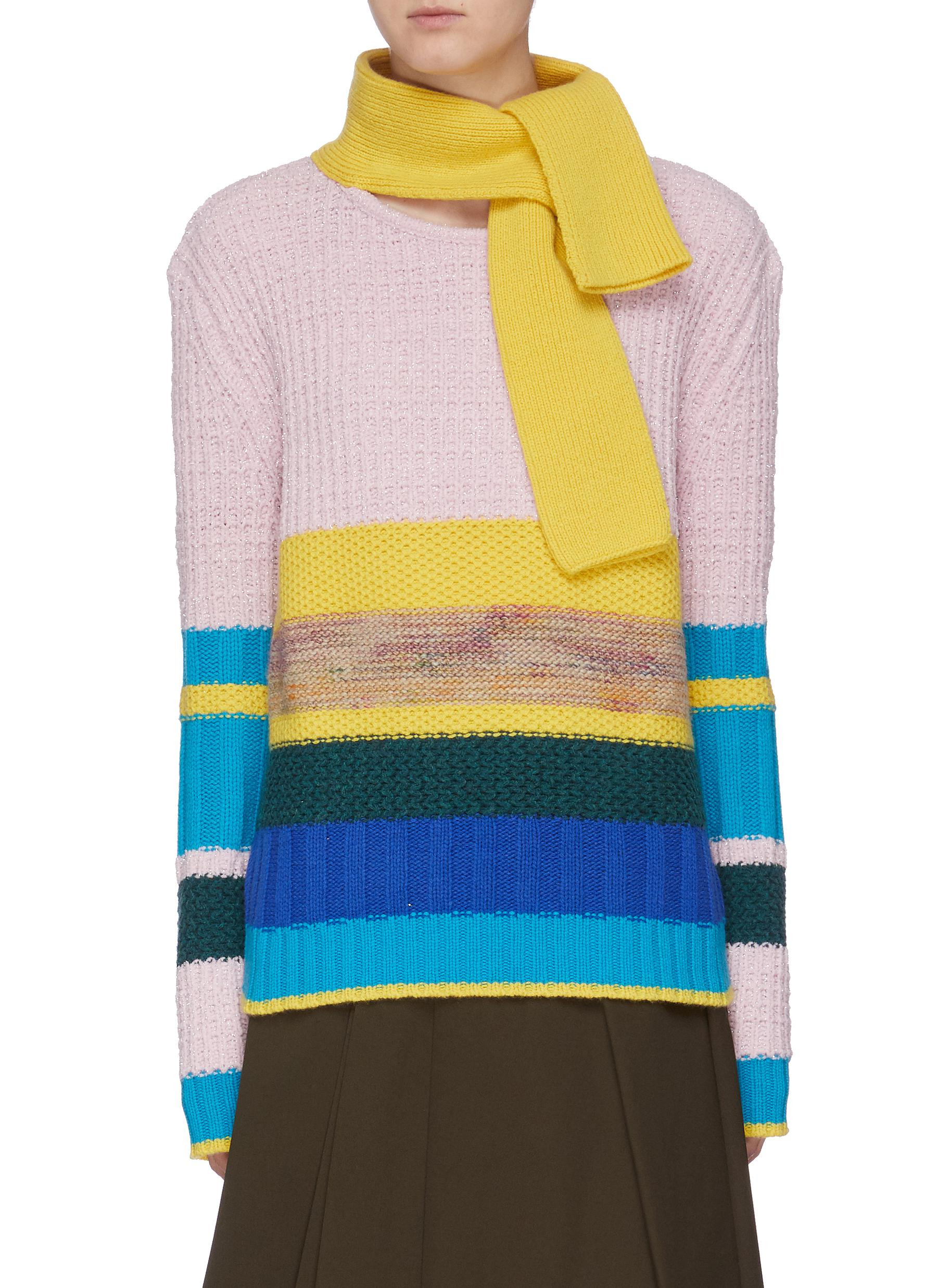 Scarf panel colourblock stripe mix knit sweater by I-Am-Chen