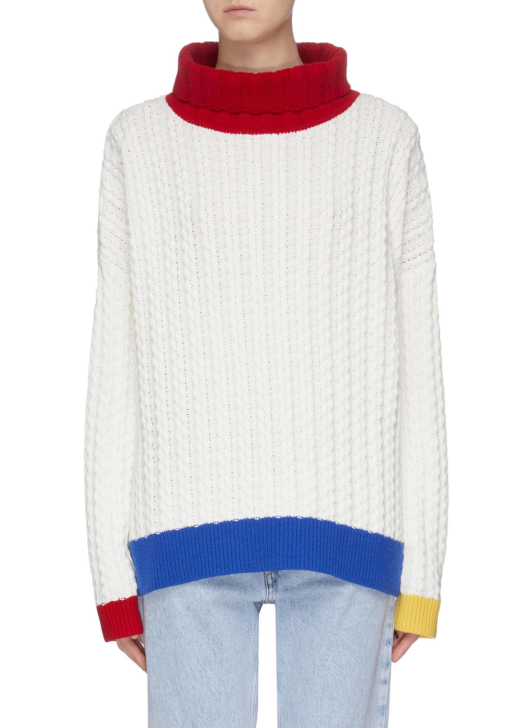 Layered back colourblock hem oversized sweater by I-Am-Chen