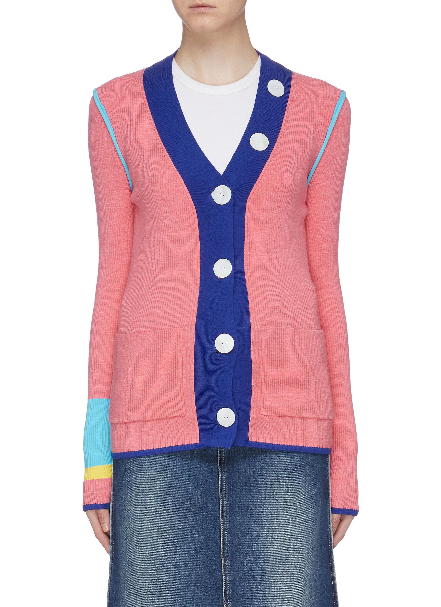 Contrast cuff rib knit cardigan by I-Am-Chen