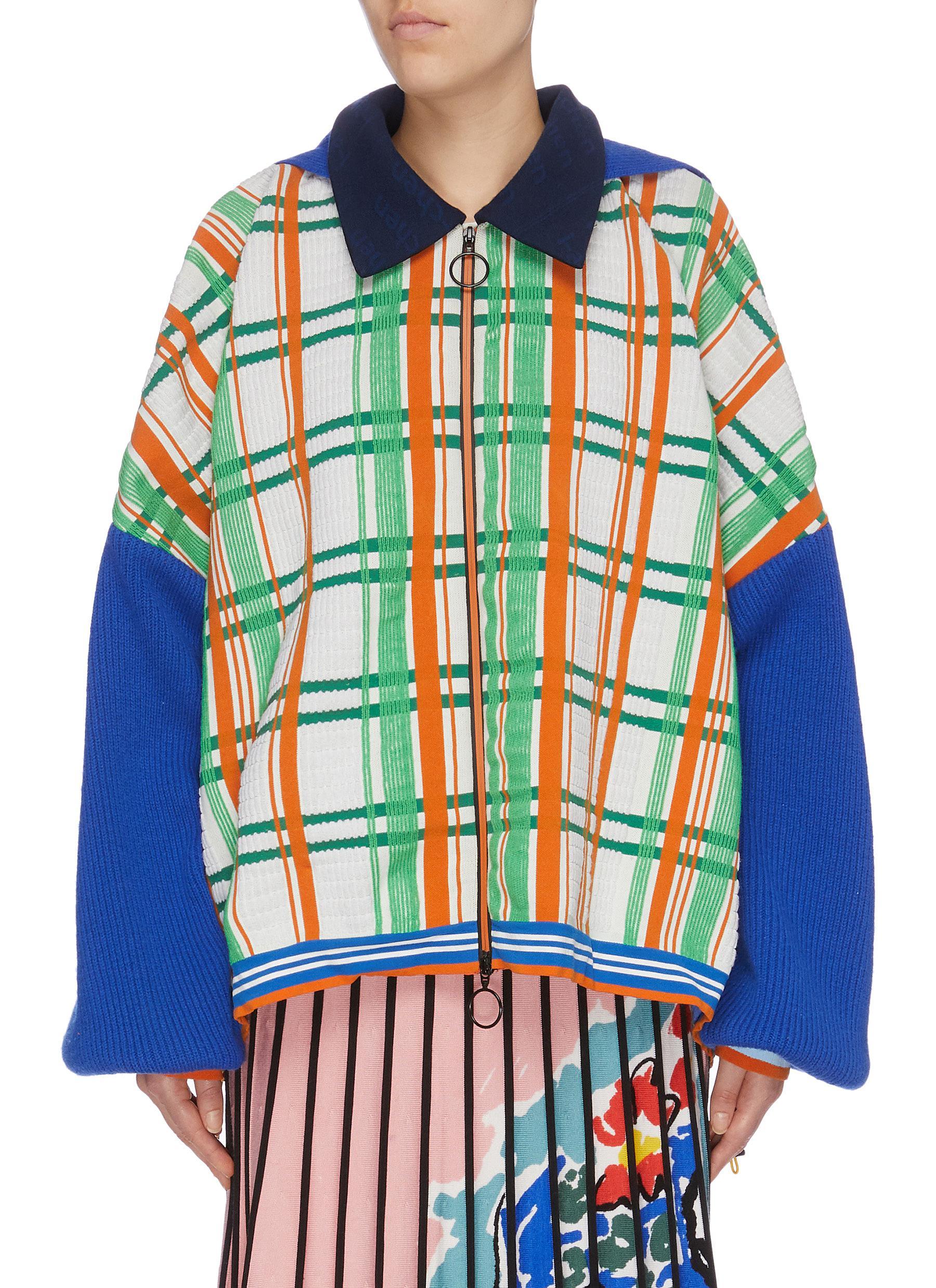 x Woolmark hooded colourblock sleeve check plaid knit jacket by I-Am-Chen