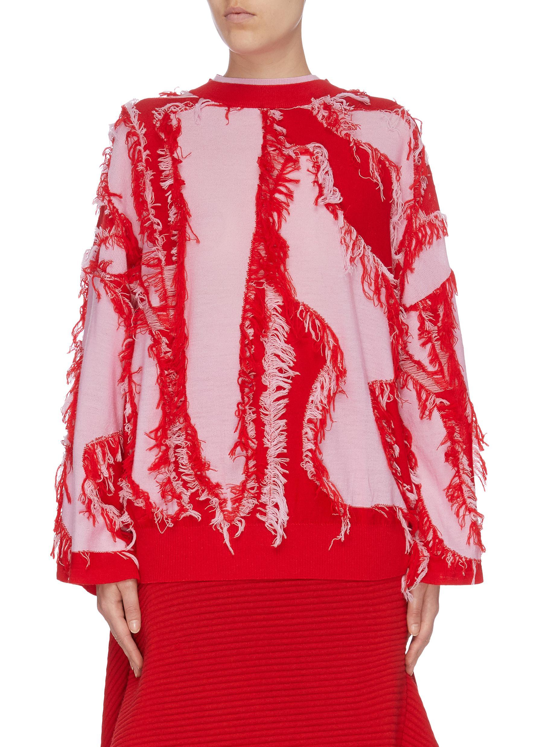 x Woolmark fringe colourblock front sweater by I-Am-Chen