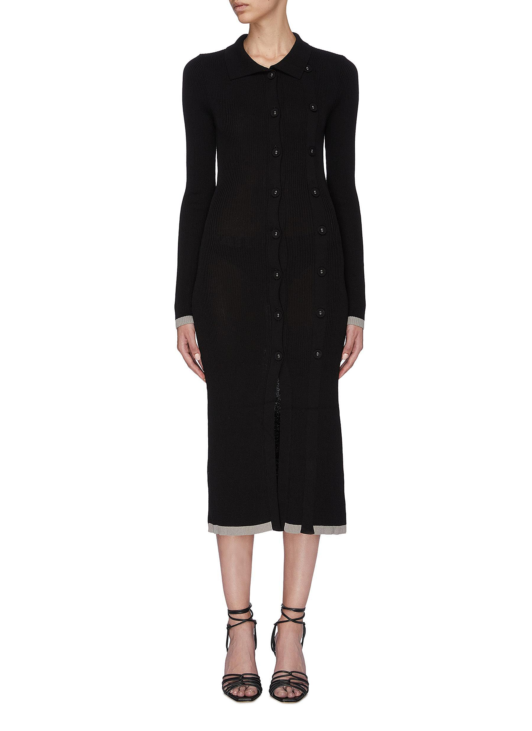 Double button front rib knit long sleeve midi dress by Christopher Esber