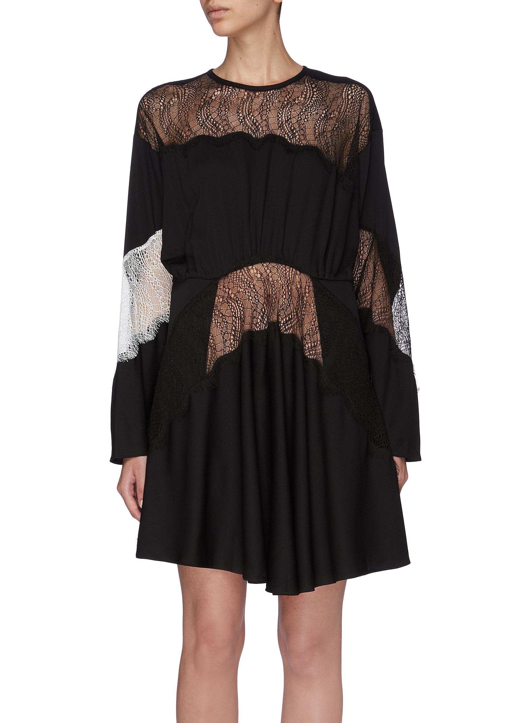 Lace insert gathered mini dress by Christopher Esber