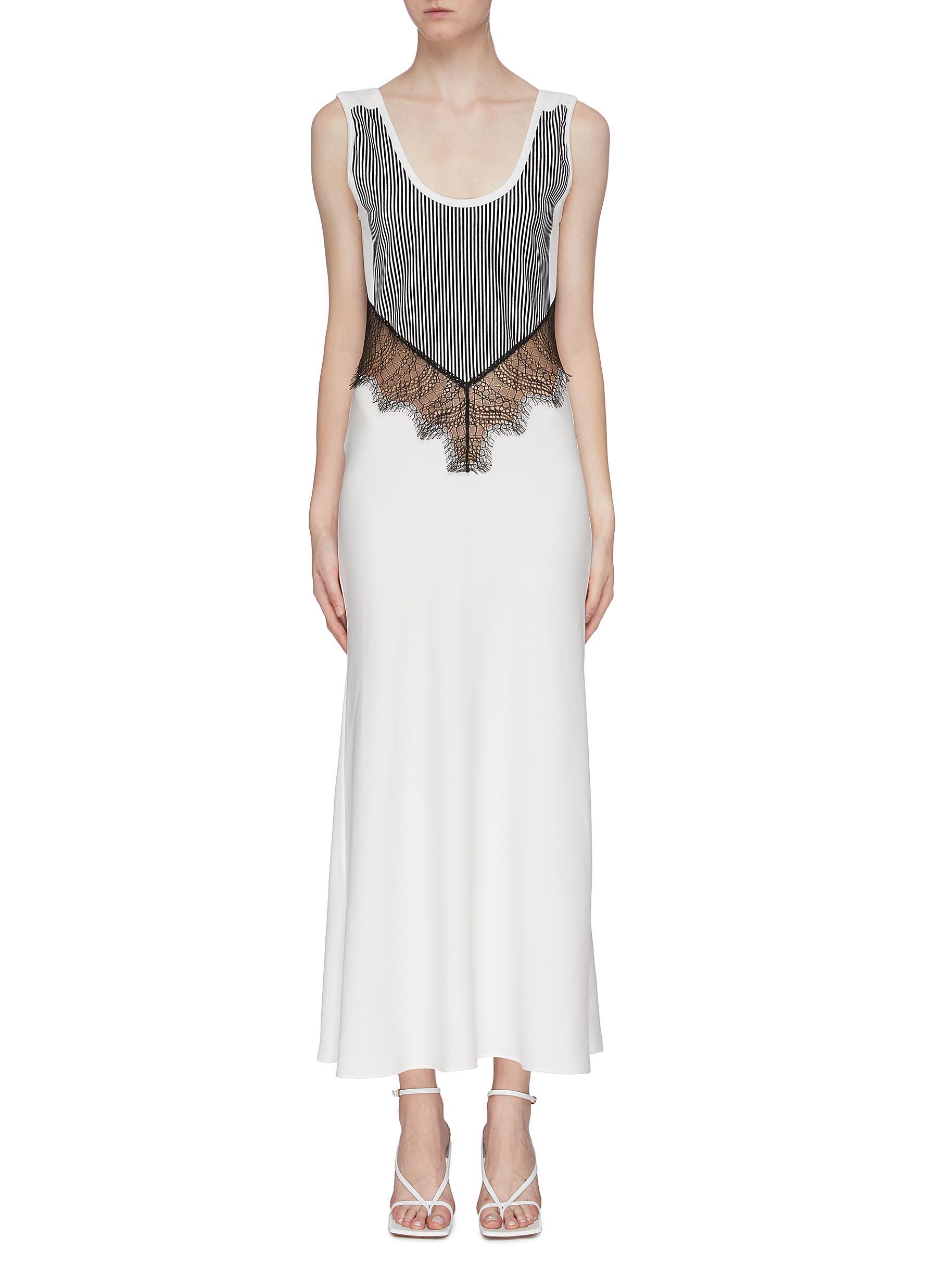 Lace waist panel flocked velvet tank dress by Christopher Esber