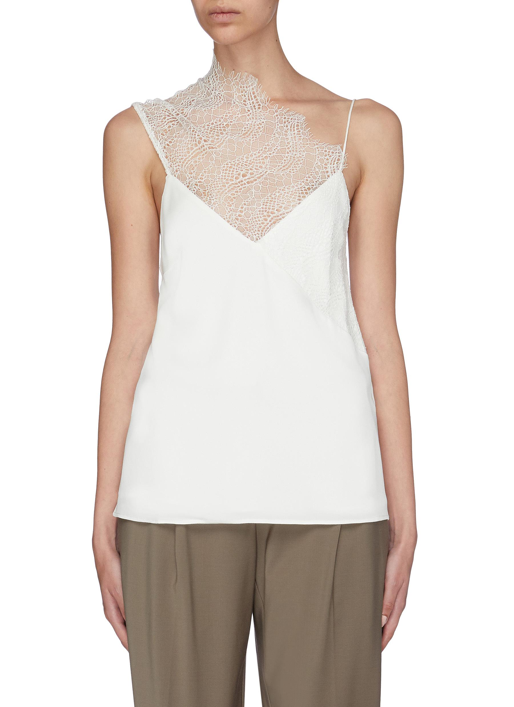 Lace drape neck panel camisole top by Christopher Esber