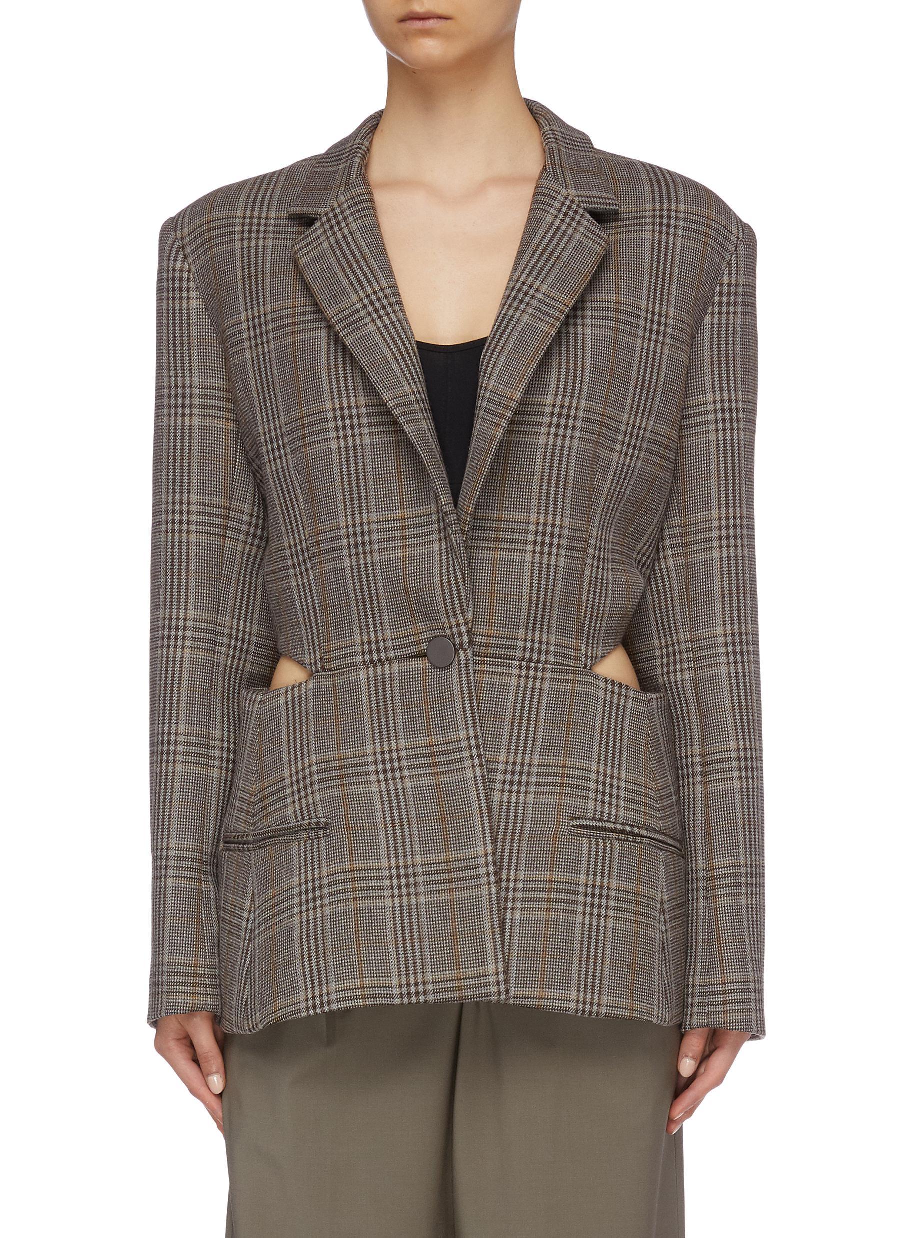 Tie cutout back check plaid blazer by Christopher Esber