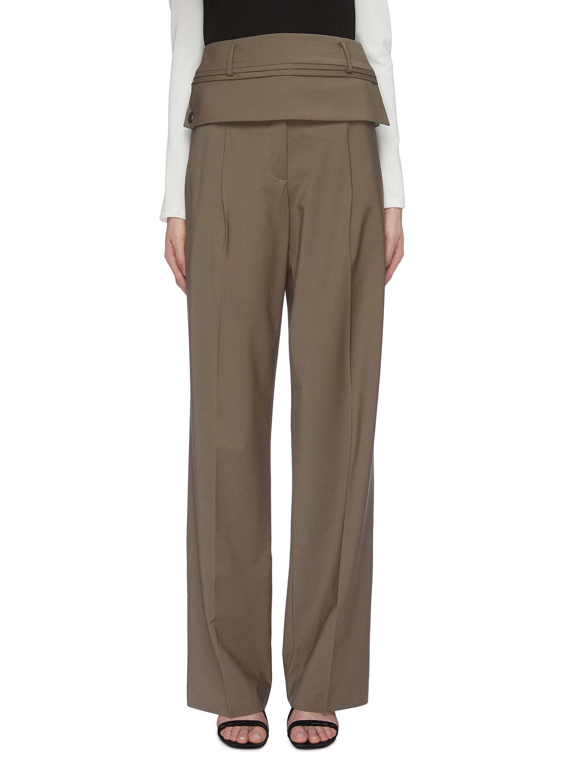Detachable belt loop waist panel suiting pants by Christopher Esber