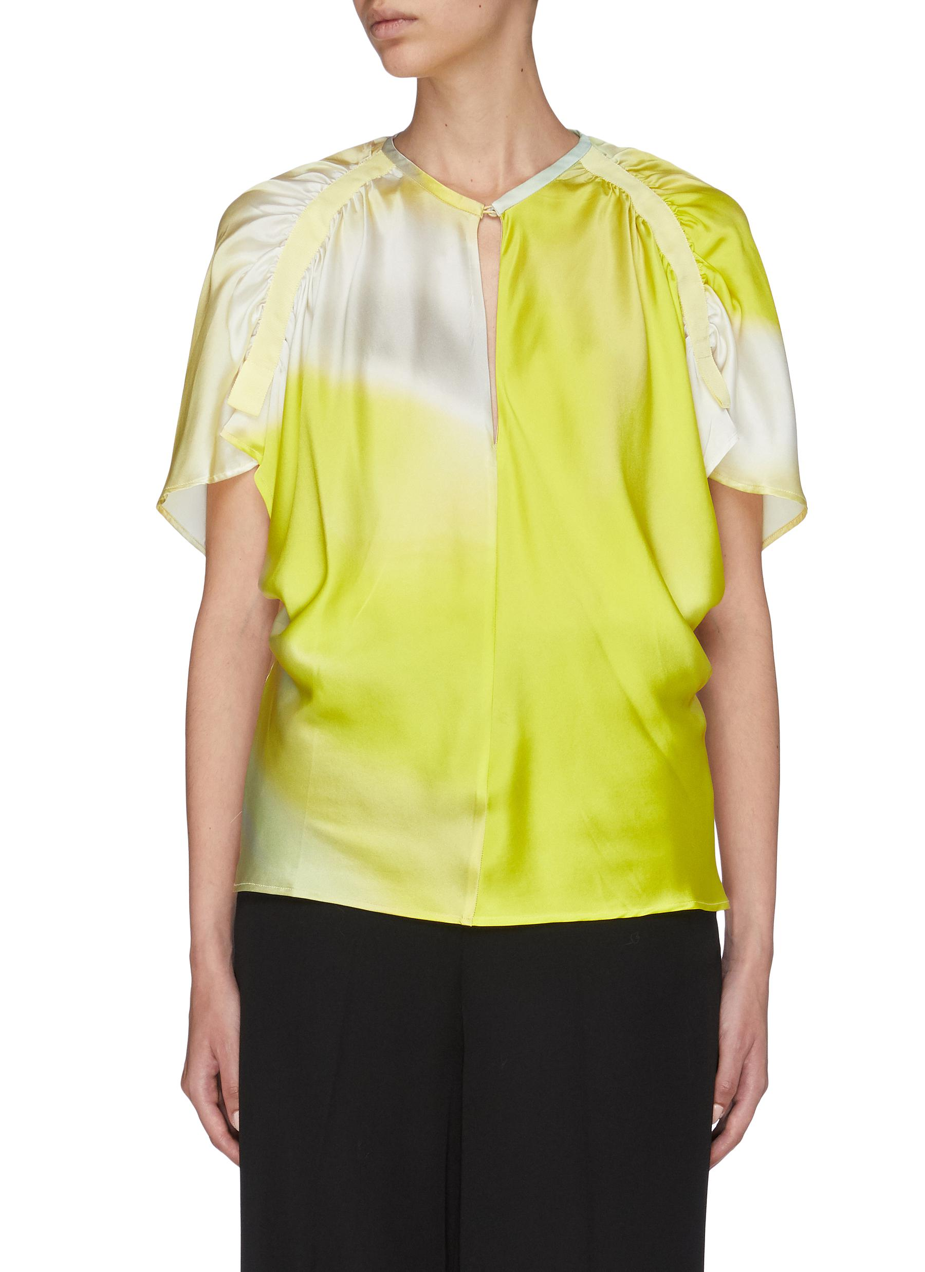 Gathered sleeve silk satin blouse by Christopher Esber