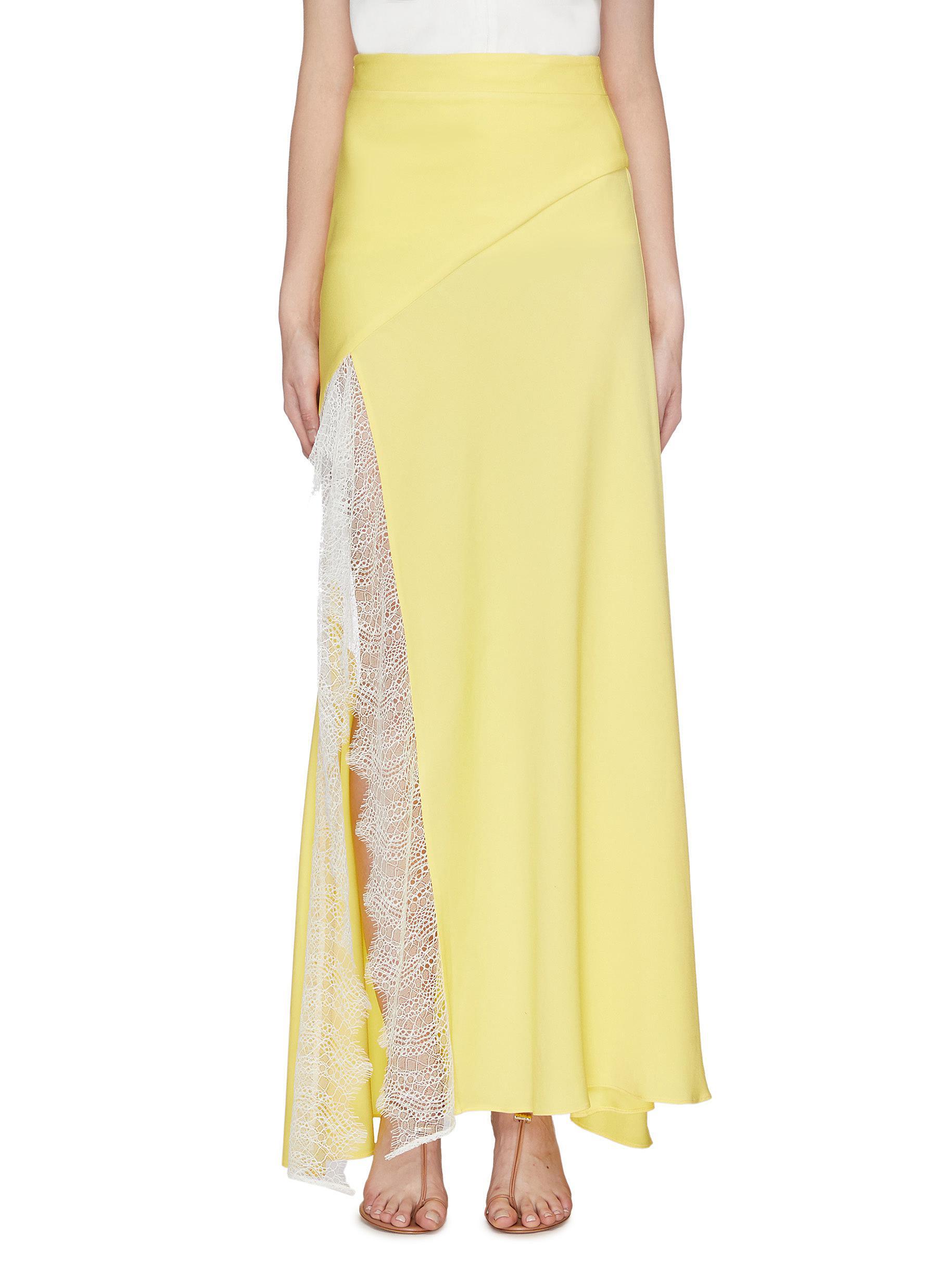 Lace trim split hem satin skirt by Christopher Esber