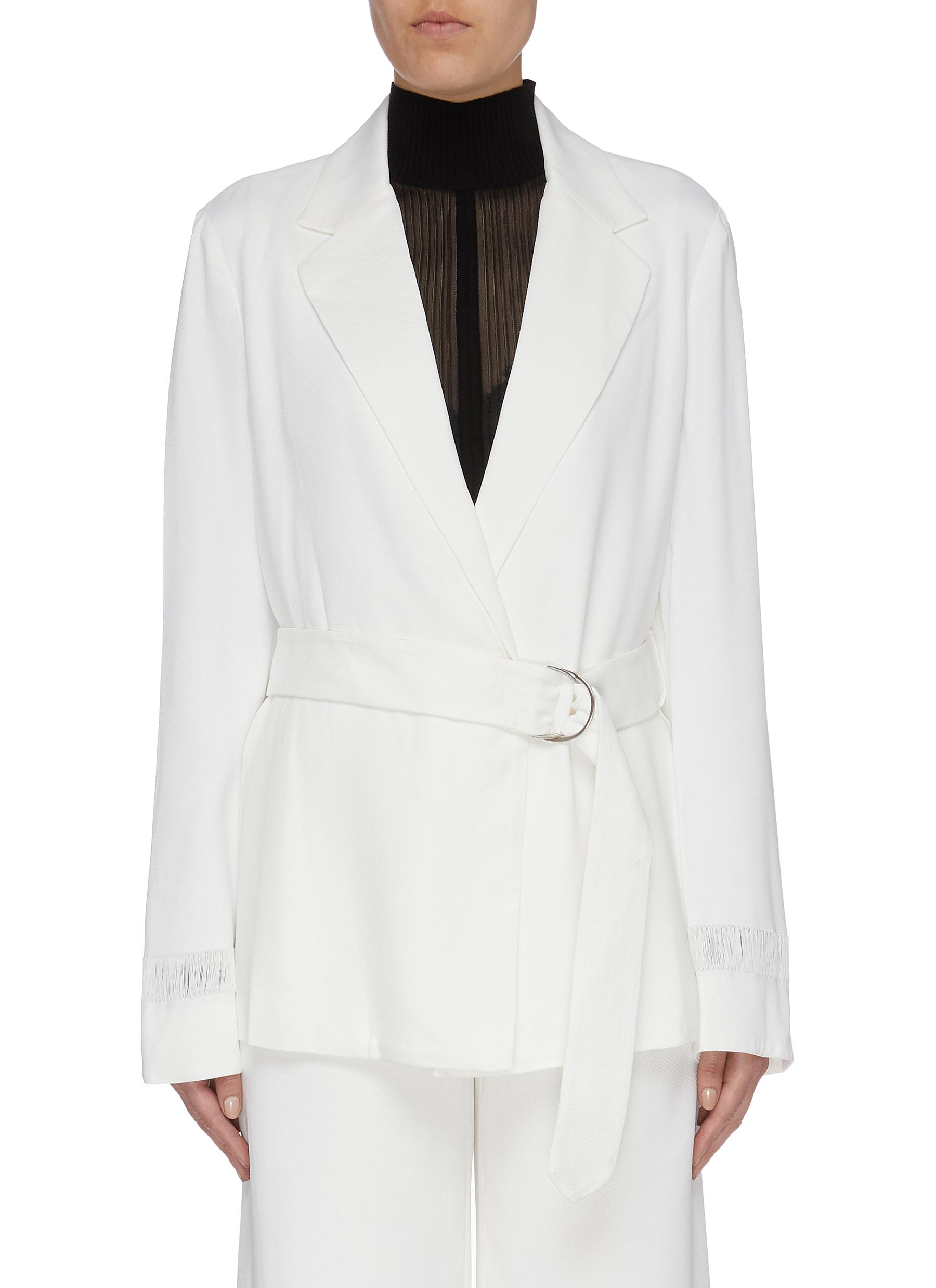 Float D-ring belted twill wrap jacket by Dion Lee