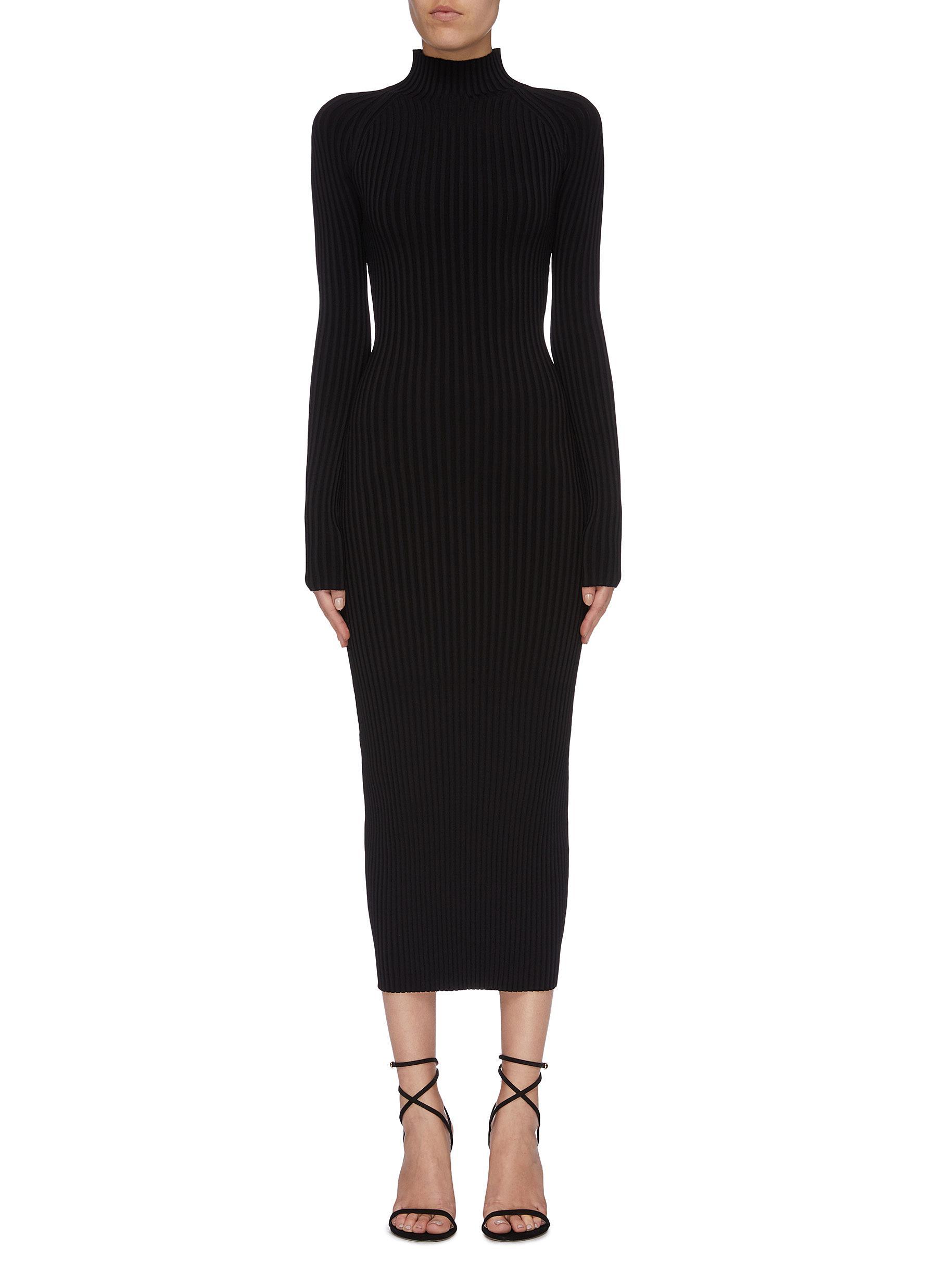 Shadow Stripe twist cutout back rib knit high neck dress by Dion Lee