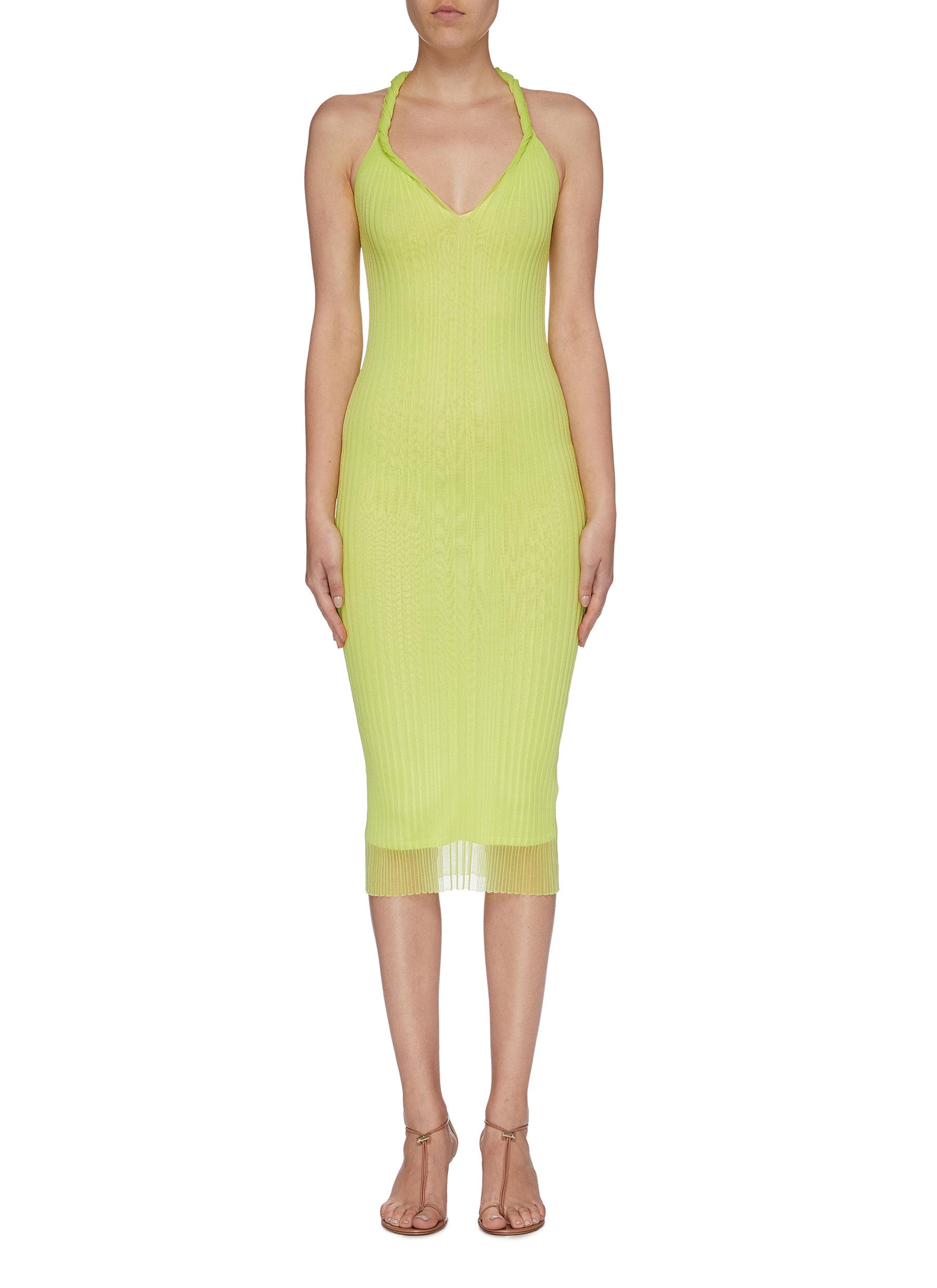 Twist strap sleeveless rib knit racerback dress by Dion Lee