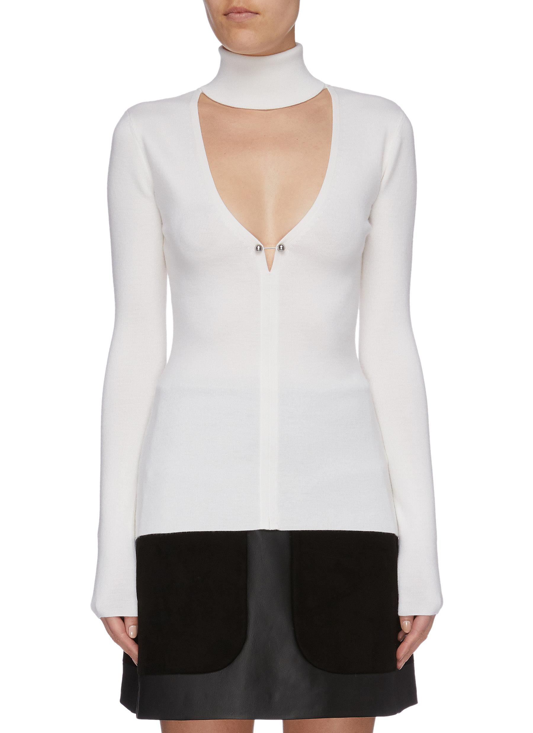 Pierced cutout yoke Merino wool blend knit turtleneck top by Dion Lee