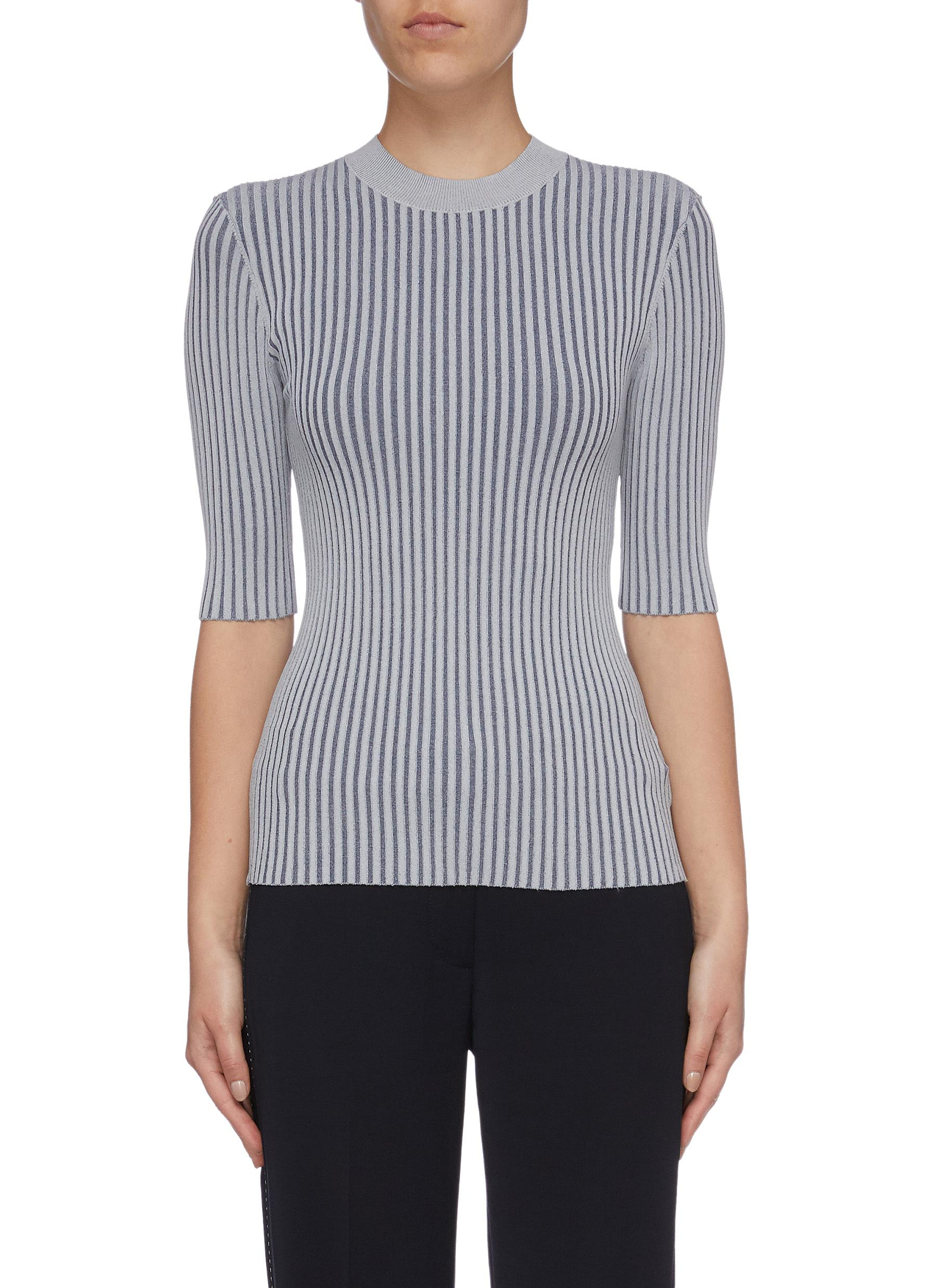 Shadow Stripe rib knit top by Dion Lee