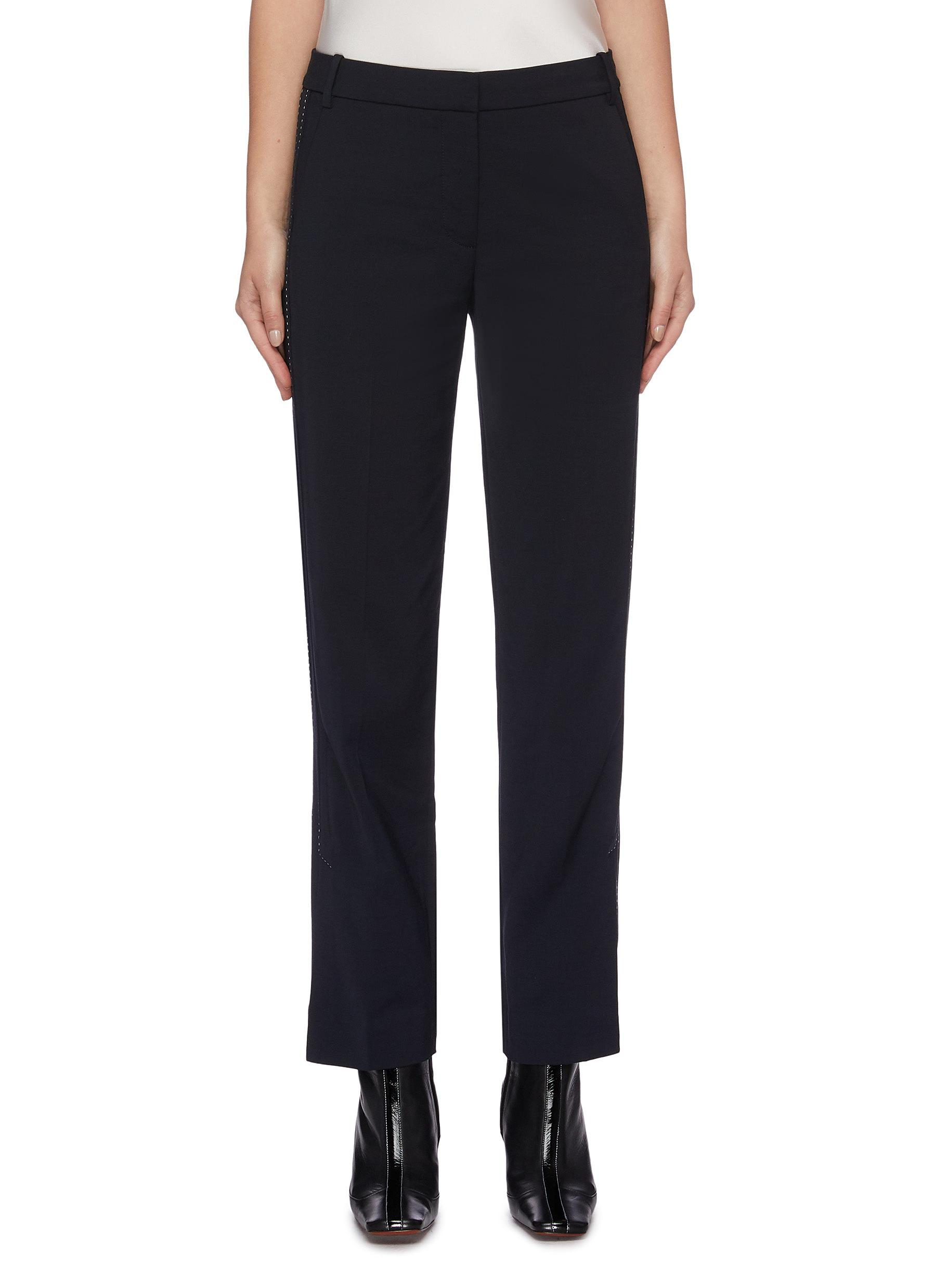 Pinstitch split cuff contrast topstitching suiting pants by Dion Lee