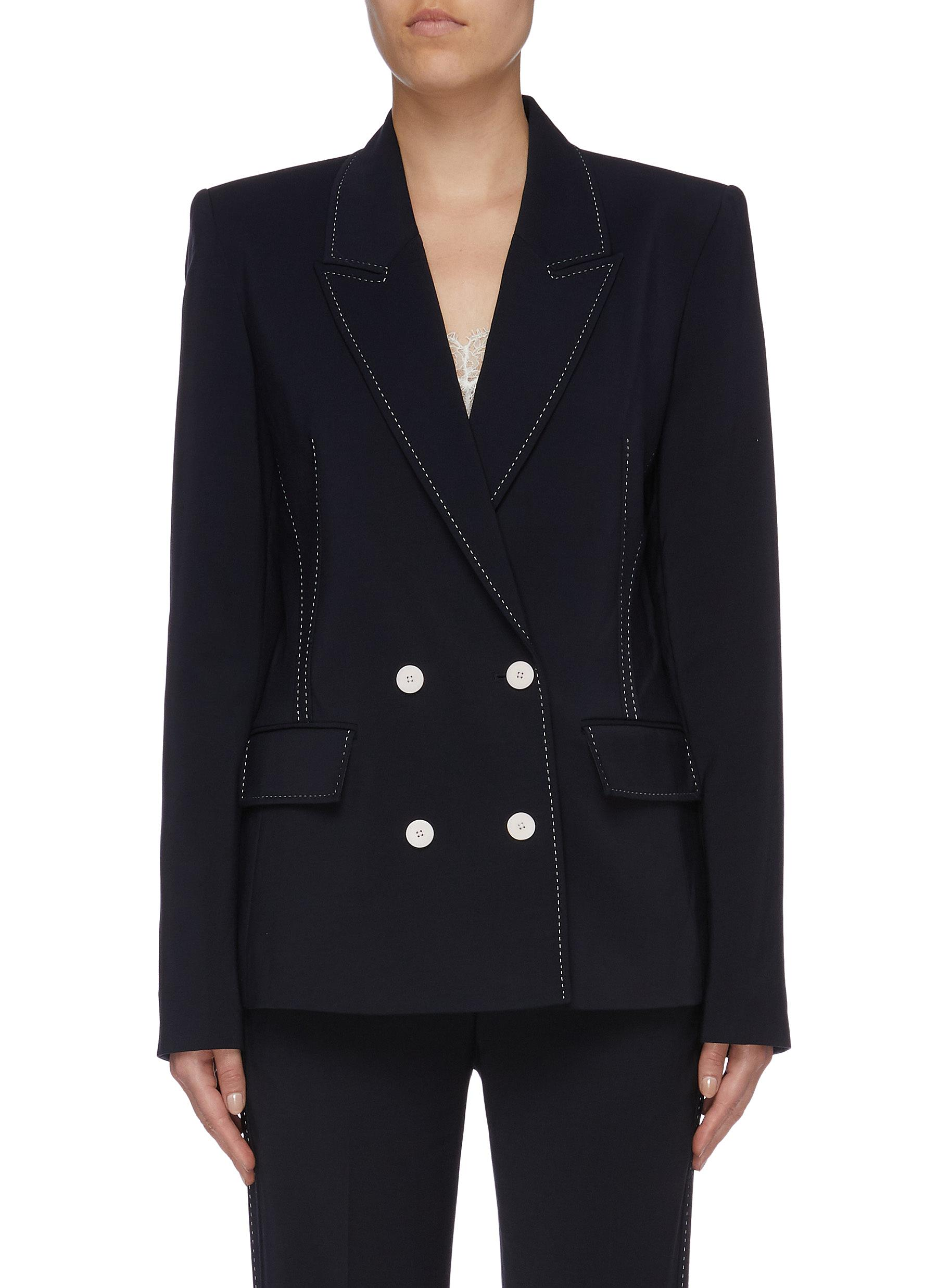Pinstitch contrast topstitching double breasted blazer by Dion Lee