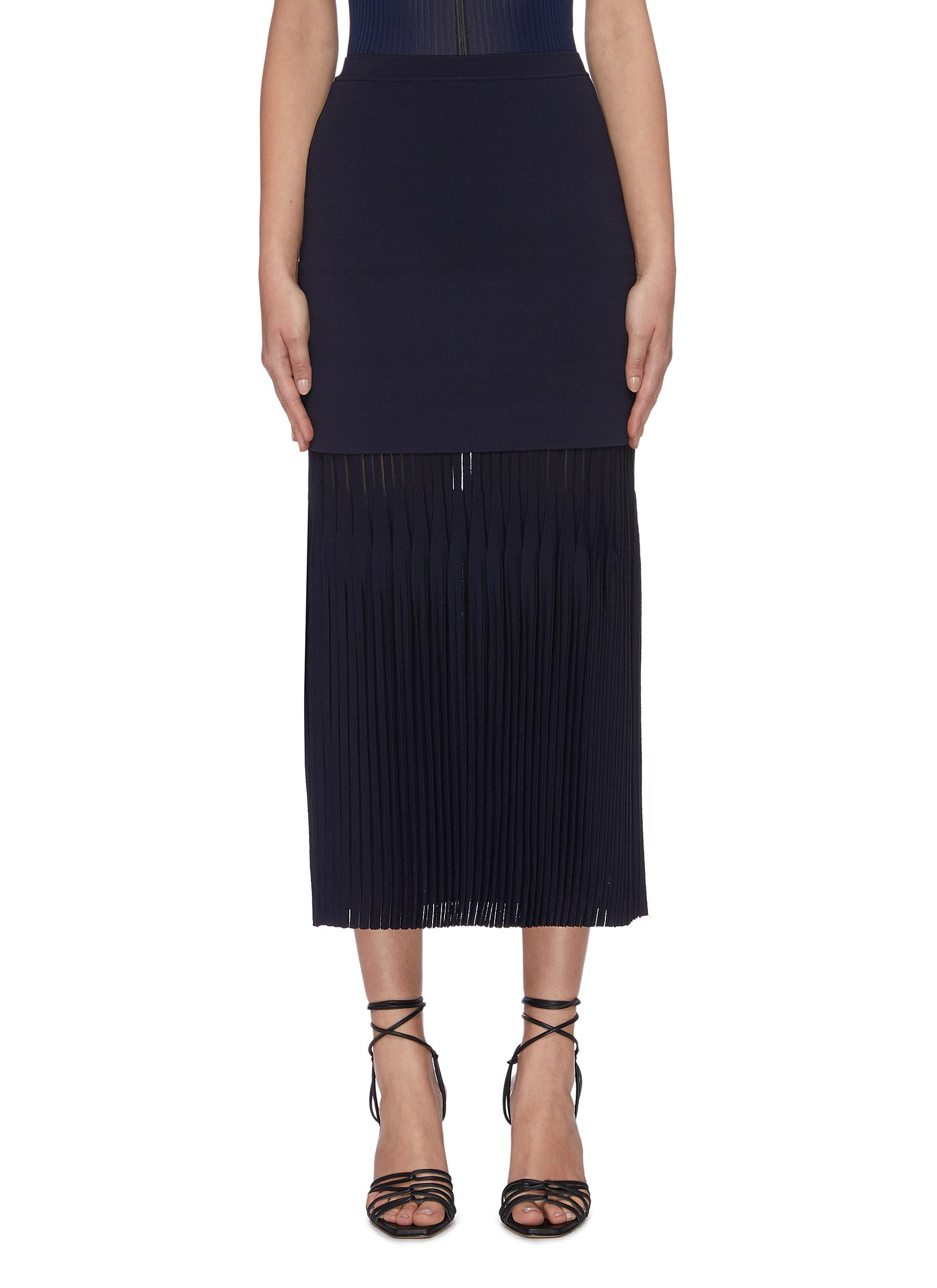 Lustrate layered pleated hem knit skirt by Dion Lee