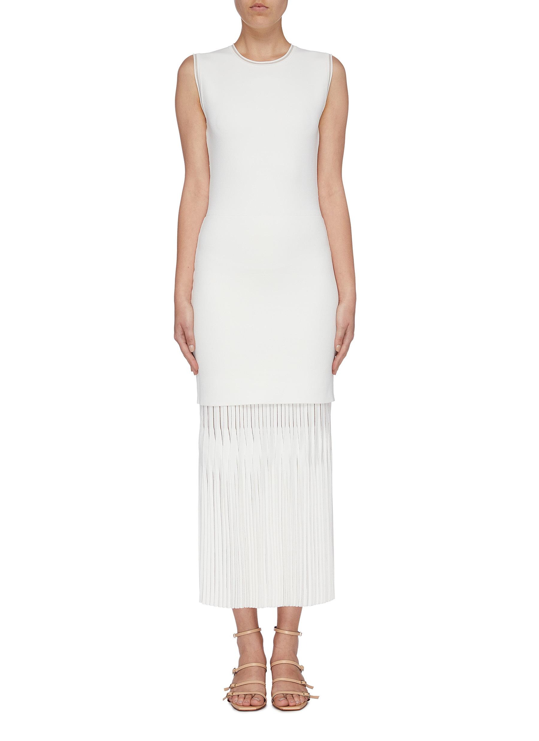 Lustrate layered pleated hem knit sleeveless dress by Dion Lee