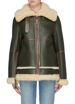 Main View - Click To Enlarge - ACNE STUDIOS - Panelled oversized boxy shearling jacket