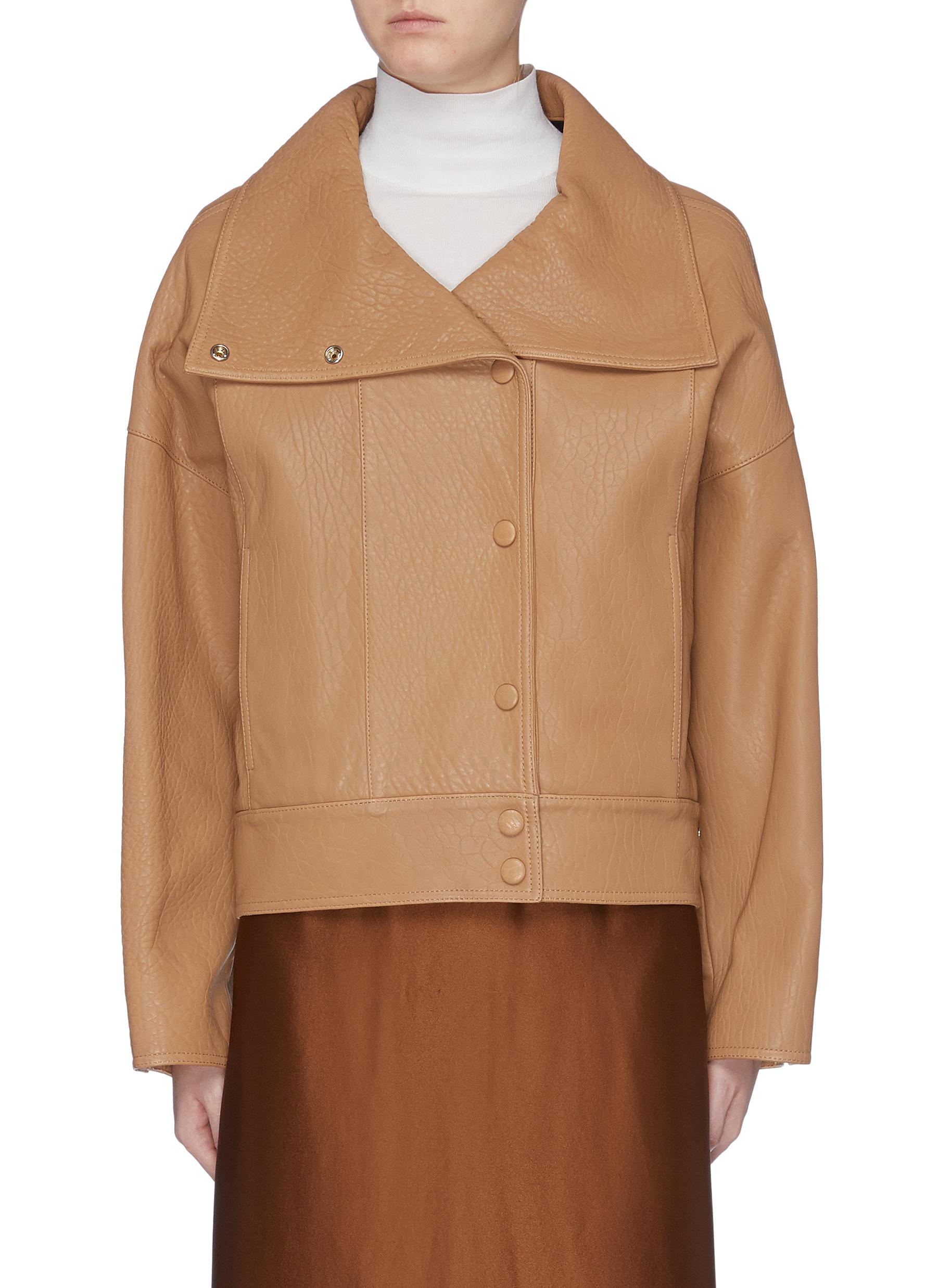 Button shawl collar leather jacket by Acne Studios