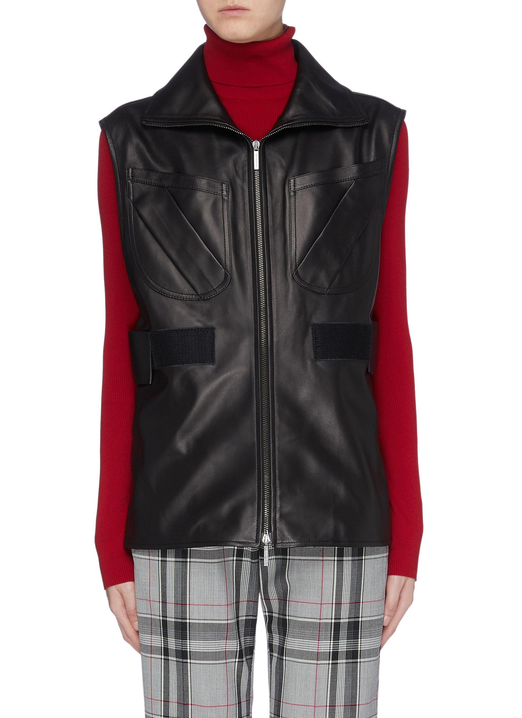 Patch pocket shirred waist leather gilet by Acne Studios