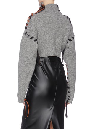 Back View - Click To Enlarge - ACNE STUDIOS - ''Kacee' contrast stitch seam turtleneck sweater