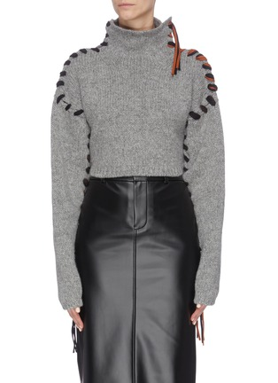 Main View - Click To Enlarge - ACNE STUDIOS - ''Kacee' contrast stitch seam turtleneck sweater
