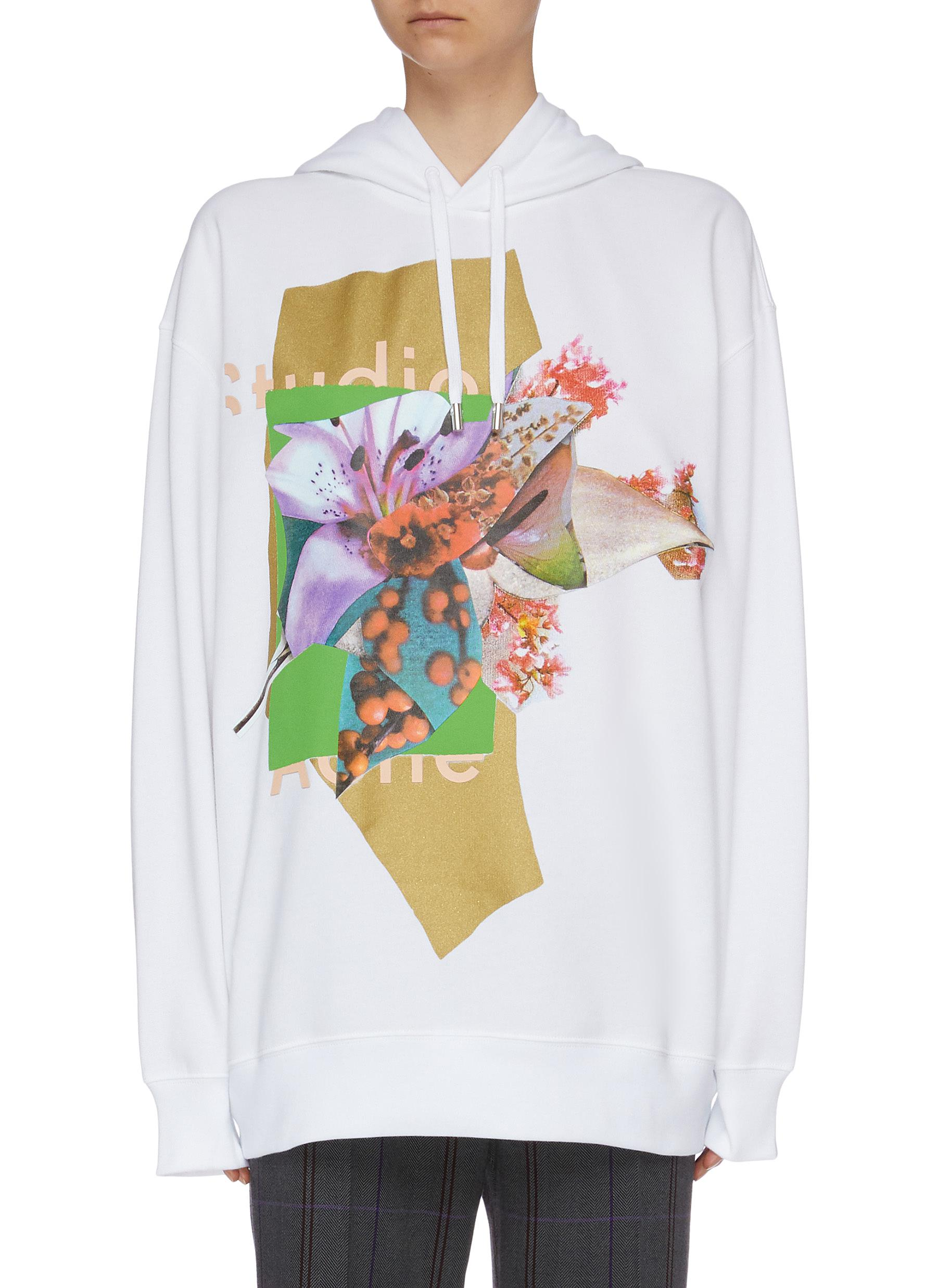Logo floral print oversized hoodie by Acne Studios