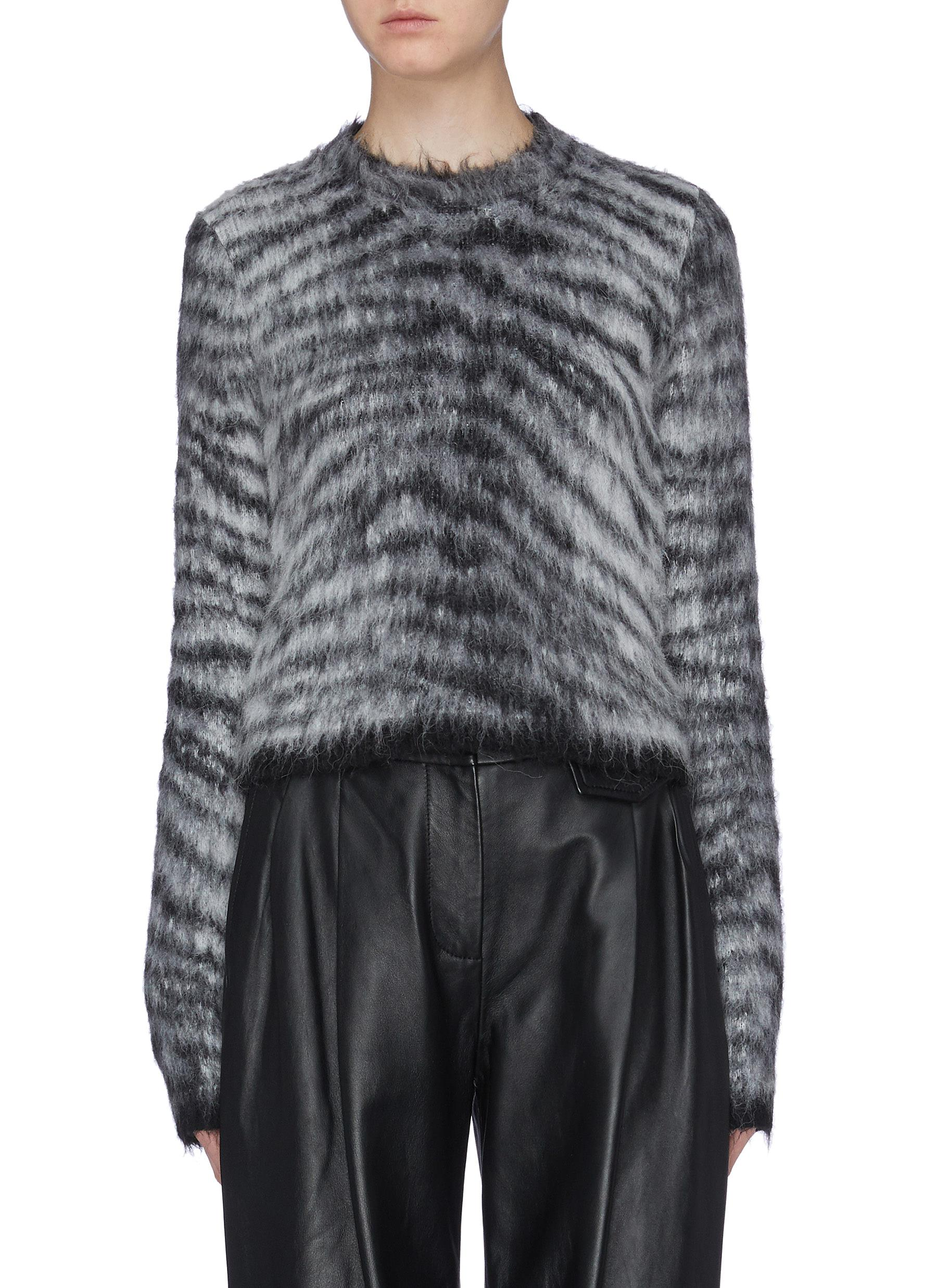 Tiger stripe cropped brushed sweater by Acne Studios