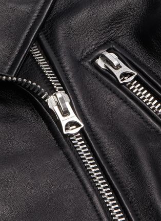 6457dc7f0 Belted lace-up eyelet embellished leather biker jacket