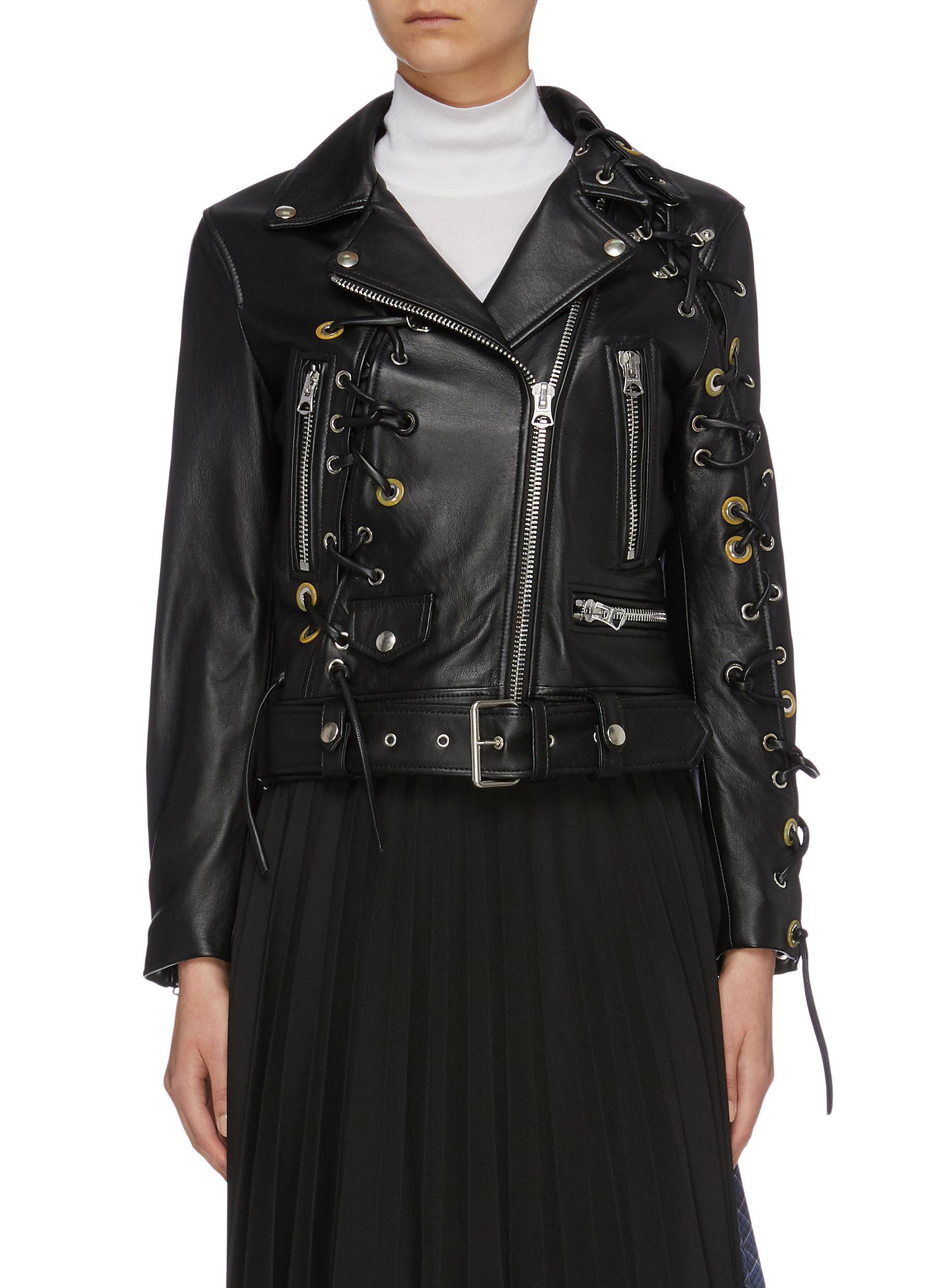 Belted lace-up eyelet embellished leather biker jacket by Acne Studios
