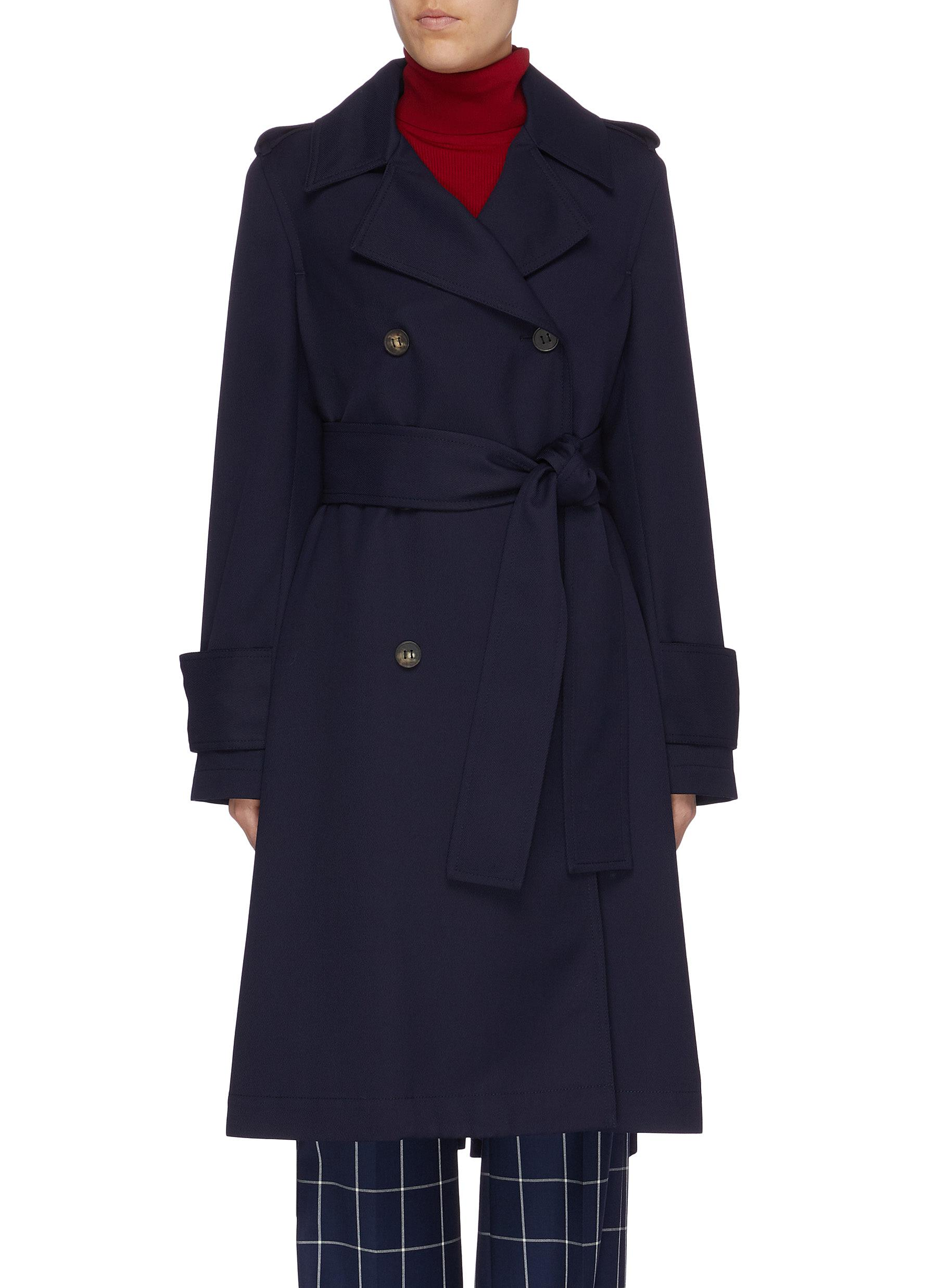 Belted double-breasted twill trench coat by Acne Studios