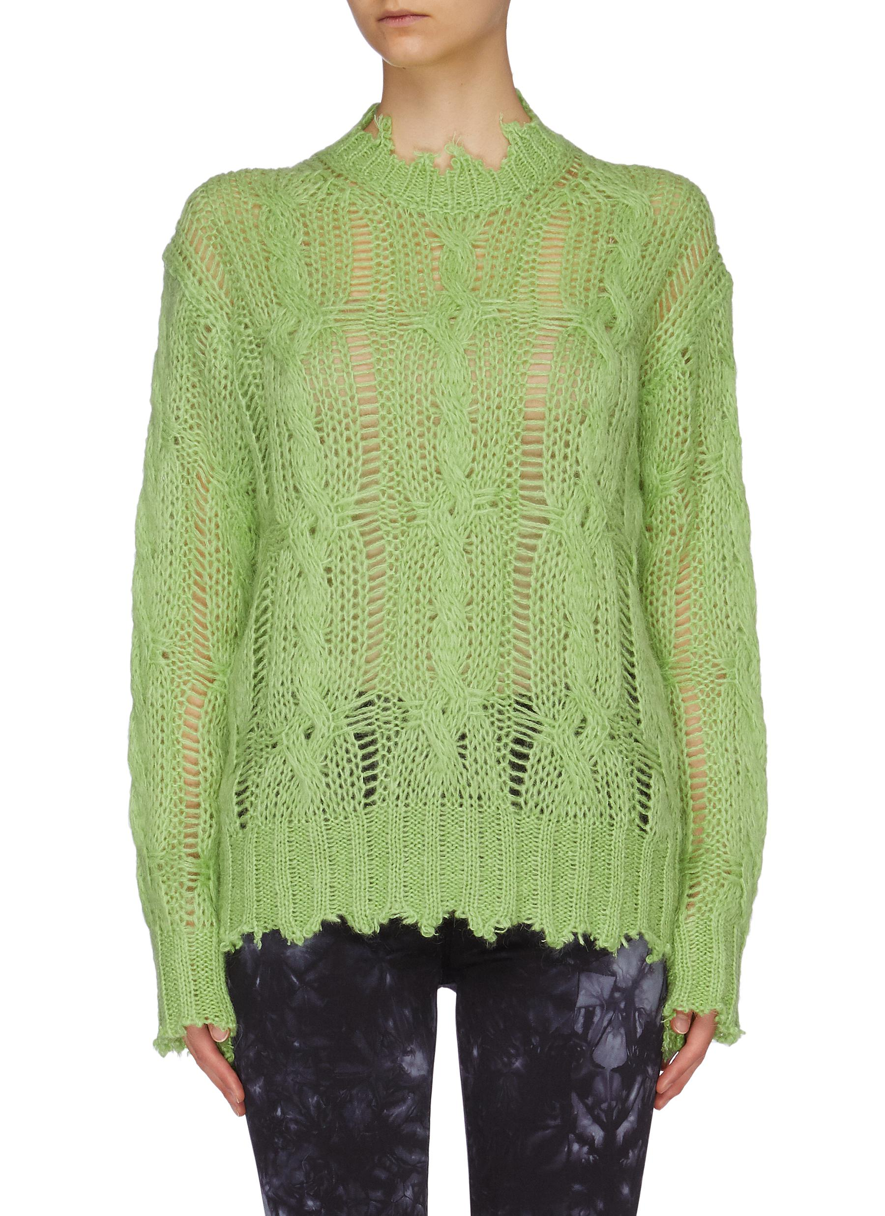 Distressed cable knit sweater by Acne Studios