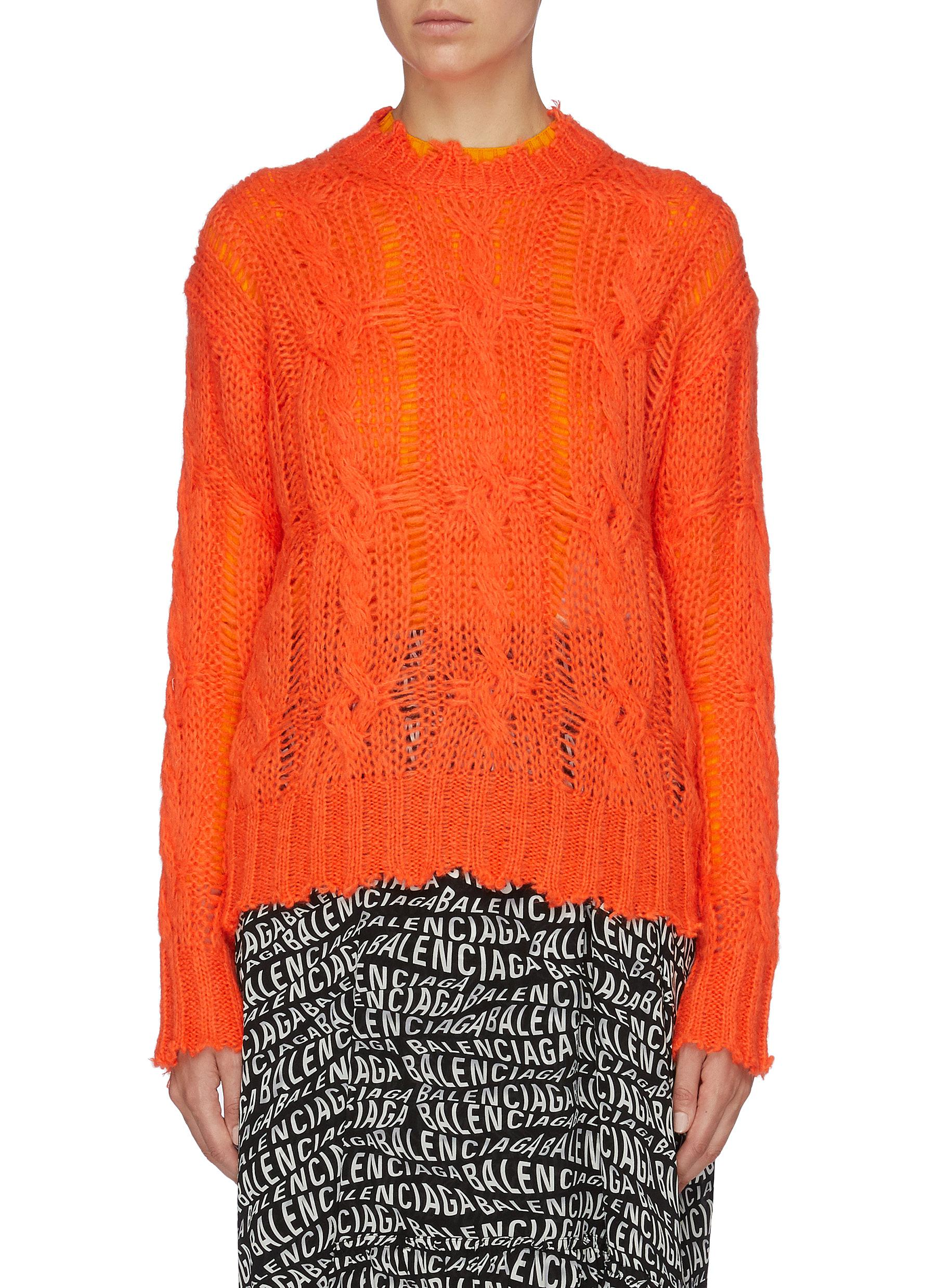 Distressed edge open cable knit sweater by Acne Studios