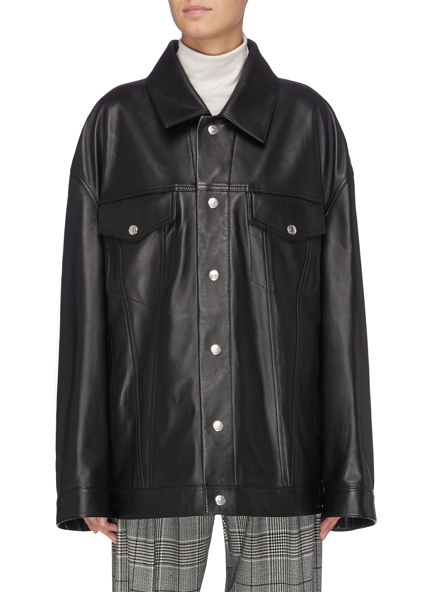 Oversized leather trucker jacket by Acne Studios