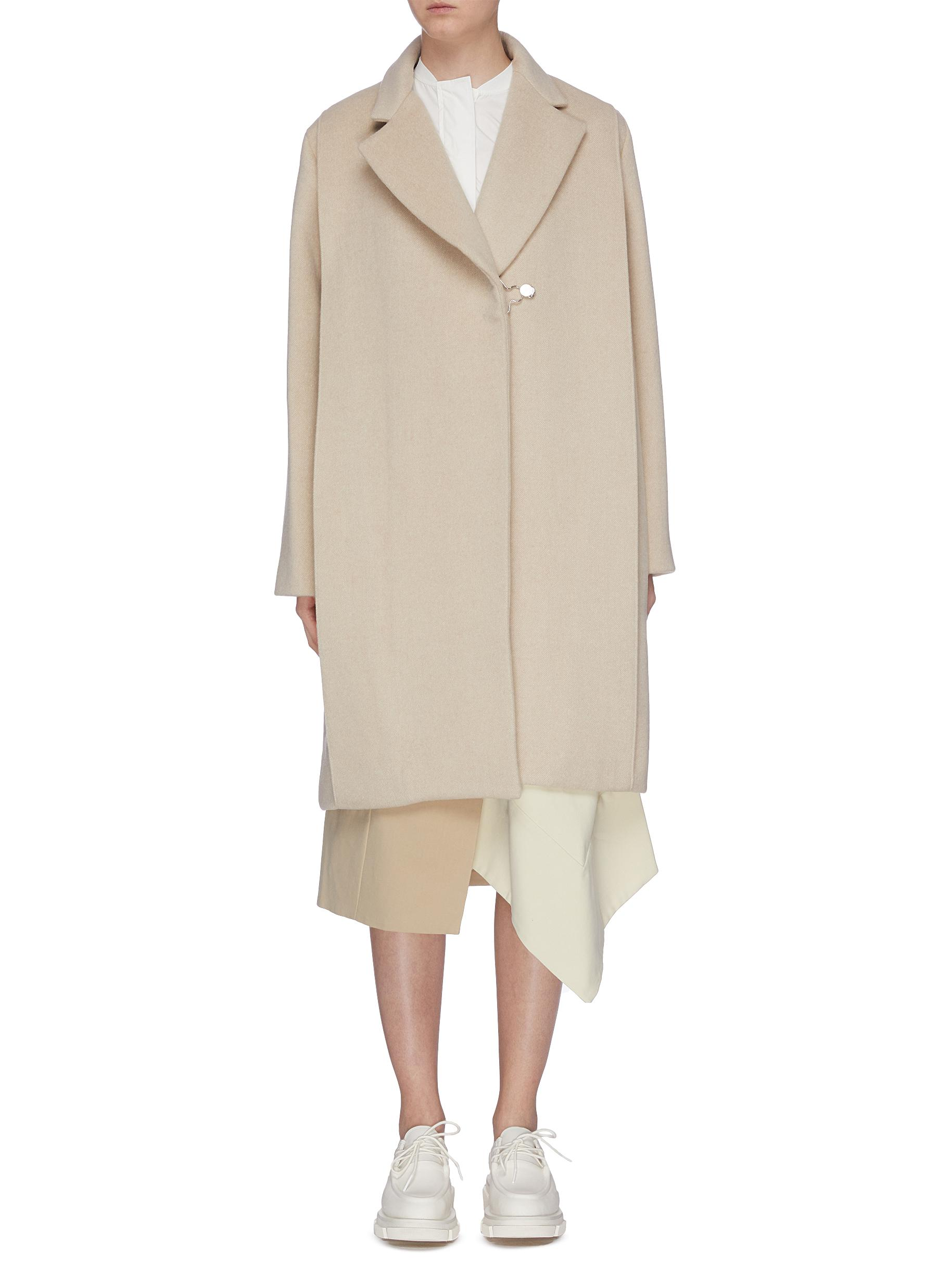 Metallic clasp twill coat by Ffixxed Studios