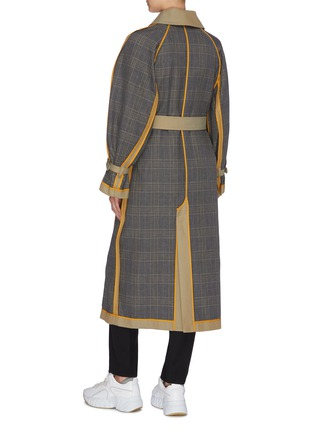 Back View - Click To Enlarge - ENFÖLD - Reversible belted houndstooth check plaid panel trench coat