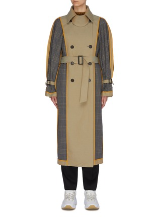 Main View - Click To Enlarge - ENFÖLD - Reversible belted houndstooth check plaid panel trench coat