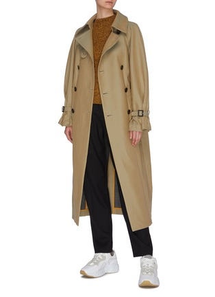 Figure View - Click To Enlarge - ENFÖLD - Reversible belted houndstooth check plaid panel trench coat