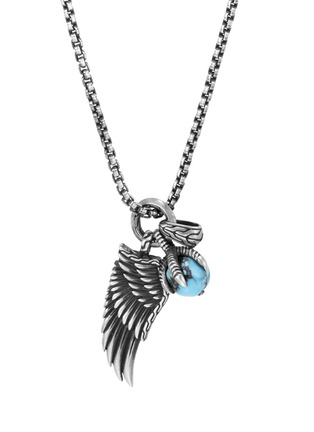 Main View - Click To Enlarge - JOHN HARDY - 'Legends Eagle' turquoise pyrite silver pendant necklace