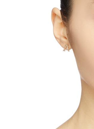 Front View - Click To Enlarge - SARAH & SEBASTIAN - 'Kintsugi' abstract diamond 10k yellow gold earring set
