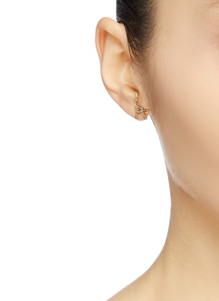 Figure View - Click To Enlarge - SARAH & SEBASTIAN - 'Kintsugi' abstract diamond 10k yellow gold earring set