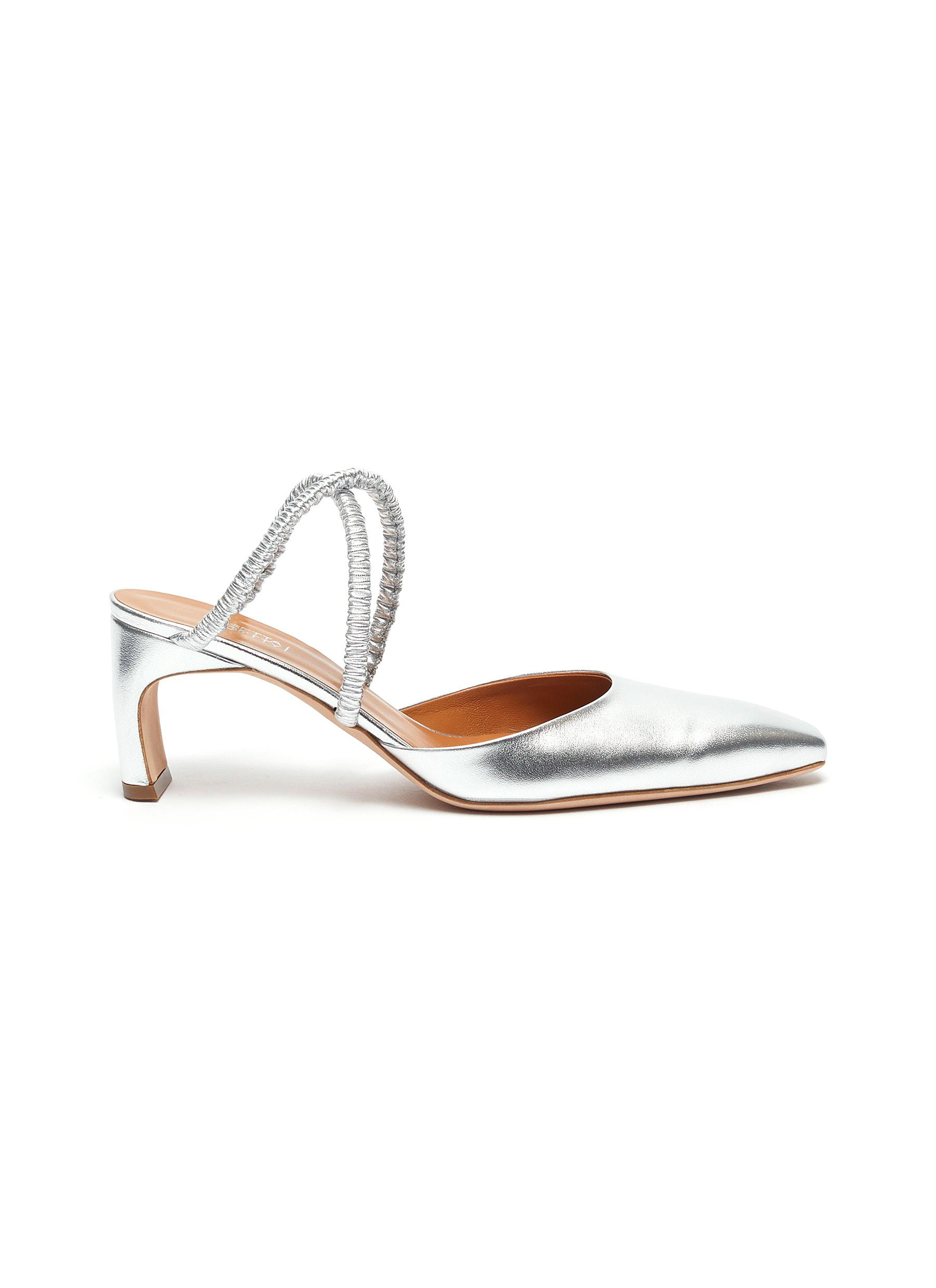 Ruched cross strap metallic leather mules by Rosetta Getty