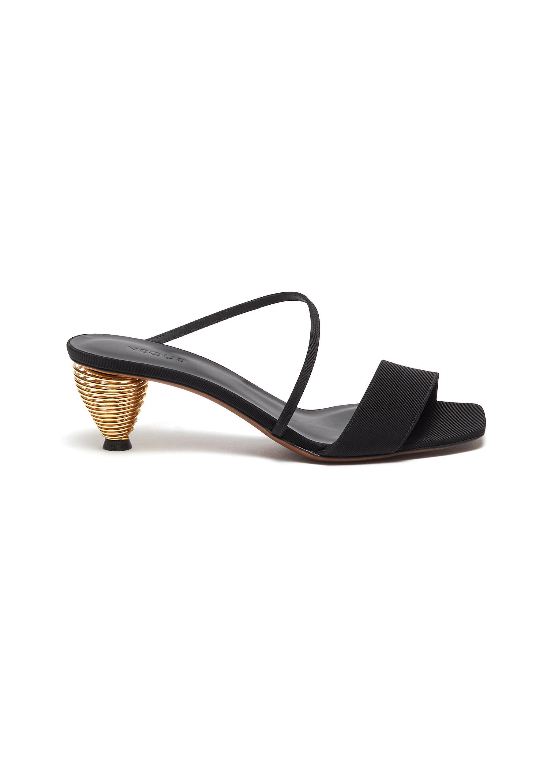 Thallis spiral metallic heel strappy sandals by Neous