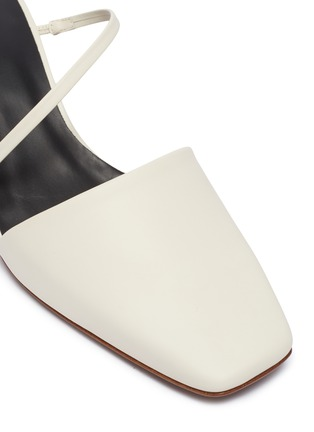 Detail View - Click To Enlarge - NEOUS - 'Pteros' spiral metallic heel leather strappy mules