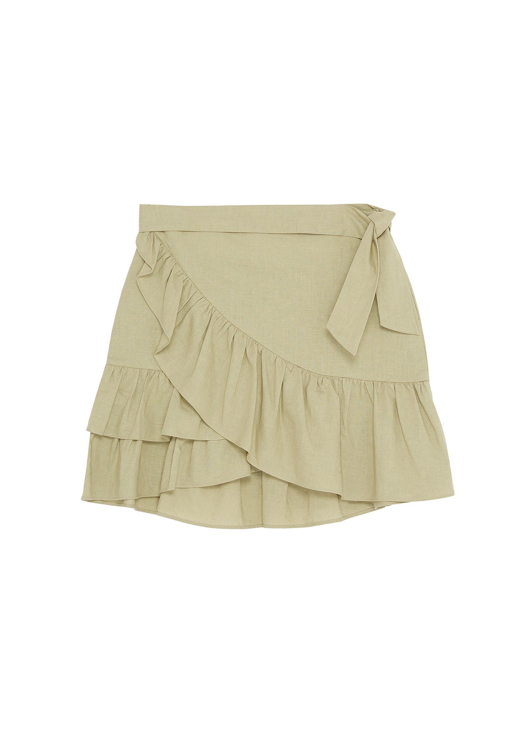 ff59775061 Main View - Click To Enlarge - TOPSHOP - Ruffle trim wrap mini skirt