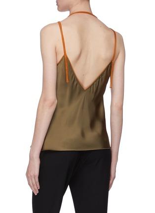 Back View - Click To Enlarge - HELMUT LANG - Contrast halterneck strap satin camisole top